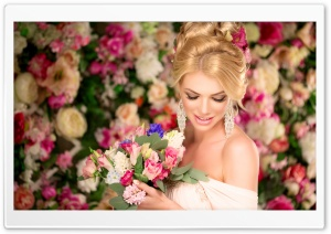 Bride, Flowers Background HD Wide Wallpaper for Widescreen