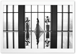 Bride, Pool, Reflection, Black and White HD Wide Wallpaper for 4K UHD Widescreen desktop & smartphone