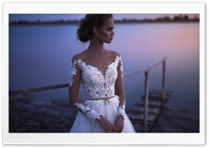 Bride, Wedding, Lake, Evening Ultra HD Wallpaper for 4K UHD Widescreen desktop, tablet & smartphone
