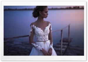 Bride, Wedding, Lake, Evening Ultra HD Wallpaper for 4K UHD Widescreen desktop, tablet & smartphone