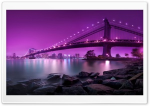 Bridge, Purple Light HD Wide Wallpaper for Widescreen