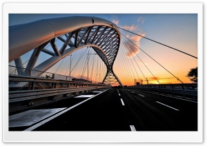Bridge Sunset Black Road HD Wide Wallpaper for Widescreen