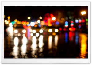 Broadway Night Bokeh HD Wide Wallpaper for Widescreen