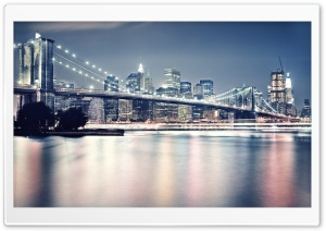 Brooklyn Bridge At Night HD Wide Wallpaper for Widescreen