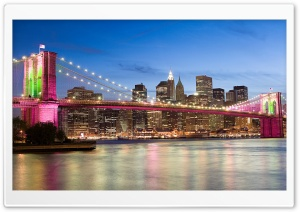 Brooklyn Bridge In Pink, New York HD Wide Wallpaper for Widescreen