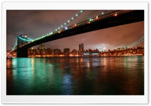 Brooklyn Bridge, New York at Night HD Wide Wallpaper for Widescreen