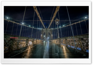 Brooklyn Bridge Pedestrian walkway, Night HD Wide Wallpaper for Widescreen