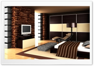 Brown Bedroom Design Ultra HD Wallpaper for 4K UHD Widescreen desktop, tablet & smartphone