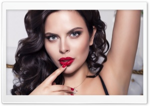 Brunette Girl With Red Lips HD Wide Wallpaper for Widescreen