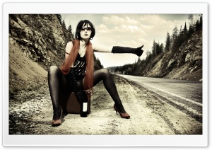 Brunette Hitchhiking HD Wide Wallpaper for Widescreen
