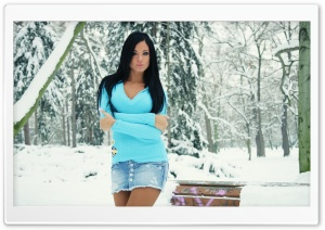 Brunette In Blue Sweater HD Wide Wallpaper for 4K UHD Widescreen desktop & smartphone