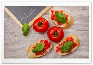 Bruschetta topped with Tomato, Parmesan, Basil HD Wide Wallpaper for 4K UHD Widescreen desktop & smartphone
