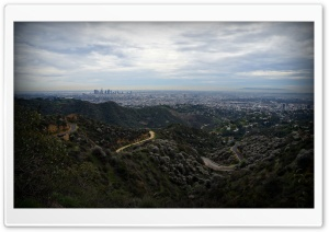 Brush Canyon Trail and Downtown Los Angeles In Griffith Park HD Wide Wallpaper for 4K UHD Widescreen desktop & smartphone