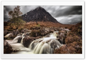 Buachaille Etive Mor Mountain Waterfall, Highlands of Scotland HD Wide Wallpaper for 4K UHD Widescreen desktop & smartphone