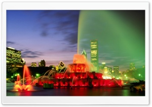 Buckingham Fountain At Dusk, Chicago, Illinois HD Wide Wallpaper for Widescreen