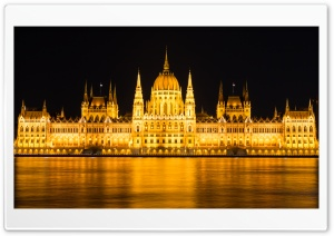 Budapest Parliament Night View Ultra HD Wallpaper for 4K UHD Widescreen desktop, tablet & smartphone
