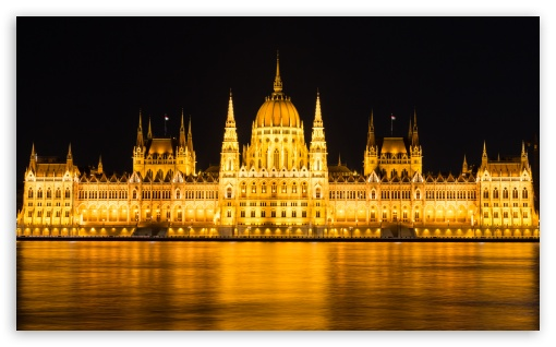 Download Budapest Parliament Night View HD Wallpaper