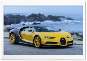 Bugatti Chiron 2018 yellow at seaside HD Wide Wallpaper for 4K UHD Widescreen desktop & smartphone