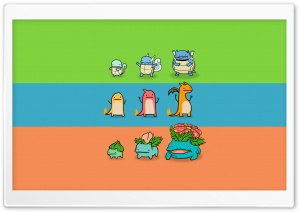 Bulbasaur, Charmander and Squirtle HD Wide Wallpaper for Widescreen