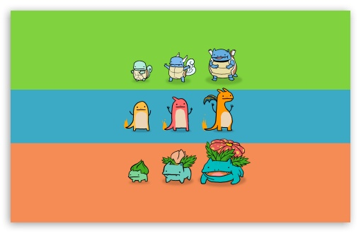 Bulbasaur, Charmander and Squirtle HD wallpaper for Wide 16:10 5:3 Widescreen WHXGA WQXGA WUXGA WXGA WGA ; HD 16:9 High Definition WQHD QWXGA 1080p 900p 720p QHD nHD ; Standard 4:3 5:4 3:2 Fullscreen UXGA XGA SVGA QSXGA SXGA DVGA HVGA HQVGA devices ( Apple PowerBook G4 iPhone 4 3G 3GS iPod Touch ) ; Tablet 1:1 ; iPad 1/2/Mini ; Mobile 4:3 5:3 3:2 16:9 5:4 - UXGA XGA SVGA WGA DVGA HVGA HQVGA devices ( Apple PowerBook G4 iPhone 4 3G 3GS iPod Touch ) WQHD QWXGA 1080p 900p 720p QHD nHD QSXGA SXGA ;