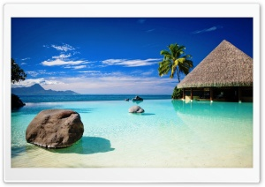 Bungalow In Blue Ocean Water HD Wide Wallpaper for 4K UHD Widescreen desktop & smartphone