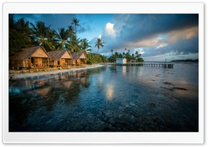 Bungalows On The Reef French Polynesia HD Wide Wallpaper for 4K UHD Widescreen desktop & smartphone