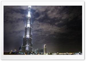 Burj Khalifa At Night HD Wide Wallpaper for Widescreen