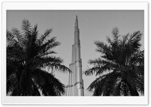 Burj Khalifa Black And White HD Wide Wallpaper for 4K UHD Widescreen desktop & smartphone