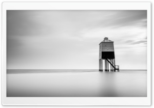 Burnham on Sea Low Lighthouse, Skyline, Black and White Ultra HD Wallpaper for 4K UHD Widescreen desktop, tablet & smartphone
