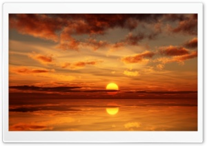 Burning Sunset Reflection HD Wide Wallpaper for Widescreen