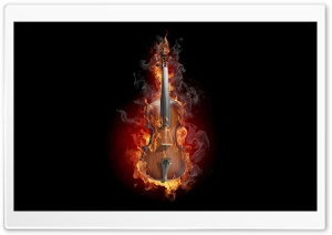 Burning Violin HD Wide Wallpaper for Widescreen