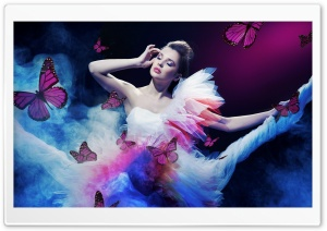 Butterflies And Girl HD Wide Wallpaper for Widescreen