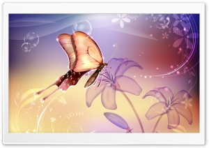 Butterflies Illustration 4 HD Wide Wallpaper for Widescreen