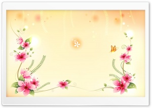 Butterfly And Flowers Illustration HD Wide Wallpaper for Widescreen