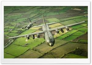 C-130K Hercules Military Transport Aircraft HD Wide Wallpaper for 4K UHD Widescreen desktop & smartphone