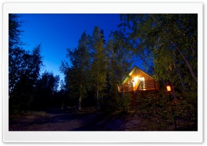 Cabin In The Woods   Night HD Wide Wallpaper for Widescreen