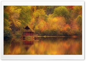 Cabin Retreat In Autumn HD Wide Wallpaper for 4K UHD Widescreen desktop & smartphone