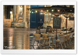 Cafe, Bordeaux, France HD Wide Wallpaper for Widescreen