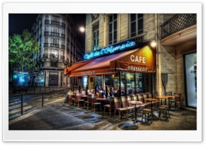 Cafe, Paris, France HD Wide Wallpaper for Widescreen