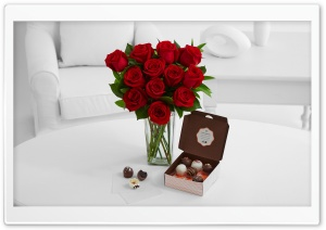 Cake Truffles and Red Roses Bouquet HD Wide Wallpaper for 4K UHD Widescreen desktop & smartphone