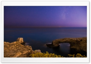 Calm Sea Under The Milkyway HD Wide Wallpaper for Widescreen