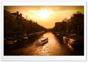 Canal Cruiser, Amsterdam HD Wide Wallpaper for Widescreen