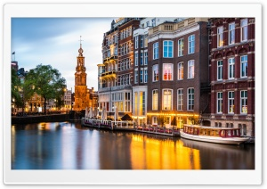 Canals of Amsterdam, Netherlands HD Wide Wallpaper for 4K UHD Widescreen desktop & smartphone
