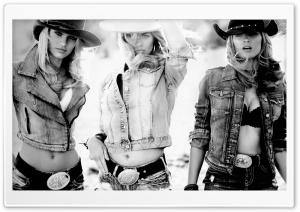 Candice Swanepoel Cowgirl Black and White HD Wide Wallpaper for 4K UHD Widescreen desktop & smartphone