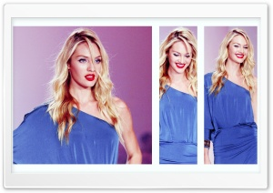 Candice Swanepoel In A Blue Dress HD Wide Wallpaper for Widescreen