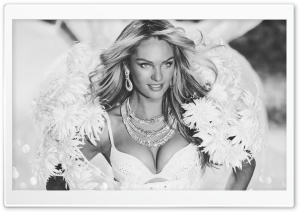 Candice Swanepoel Victoria's Secret Angel Black and White HD Wide Wallpaper for Widescreen
