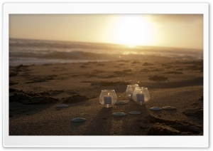 Candles On The Beach HD Wide Wallpaper for Widescreen