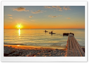 Canoeing At Sunsrise HD Wide Wallpaper for Widescreen