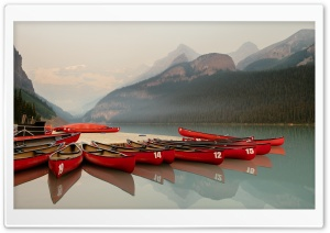 Canoeing, Lake Louise, Banff, Canada Ultra HD Wallpaper for 4K UHD Widescreen desktop, tablet & smartphone