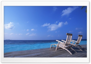 Canvas Chairs On Tropical Island HD Wide Wallpaper for Widescreen